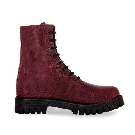 burgundy crocodile combat boots 1