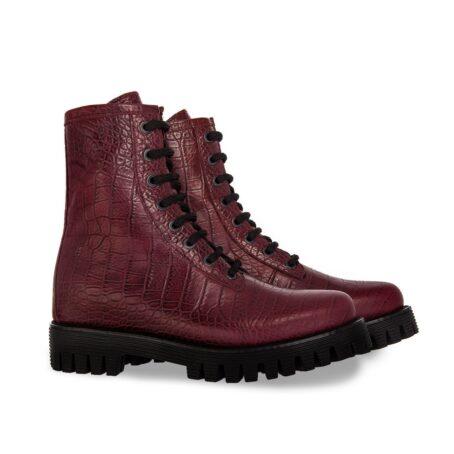 burgundy crocodile combat boots 5