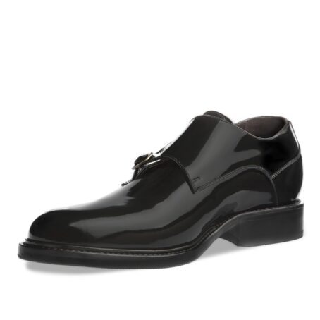double monk strap shoes in black patent leather