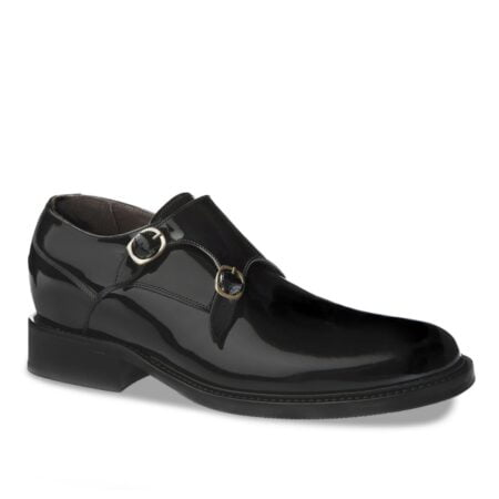 double monk strap shoes in black patent leather 1