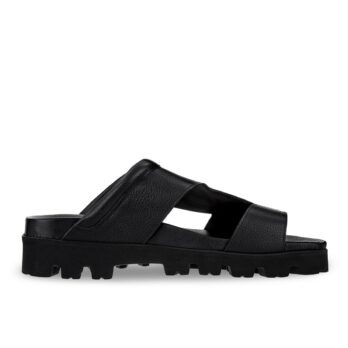 black leather sandals with elevator outsole