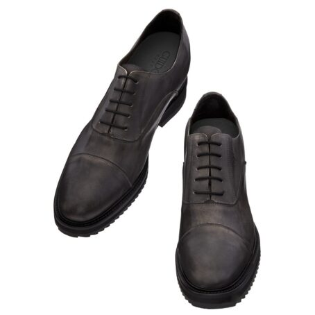dark leather oxford shoes with aged effect 2