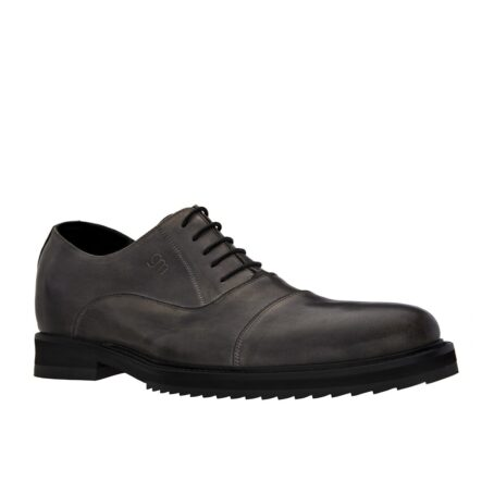 dark leather oxford shoes with aged effect 1