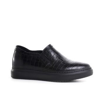 black slip-ons with croco texture