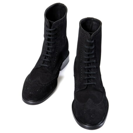mid-top black suede brogue boots 2