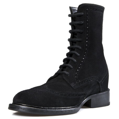 mid-top black suede brogue boots