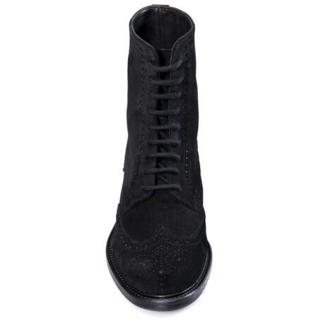 black brogue suede boots mid-top 4