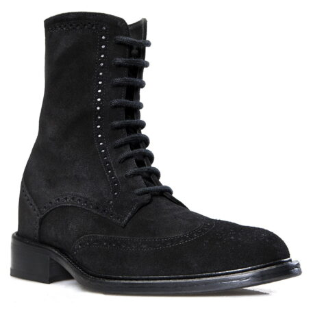 black brogue suede boots mid-top 1