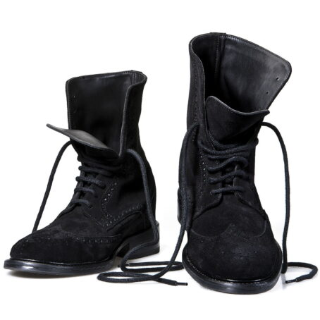 black brogue suede boots mid-top 2
