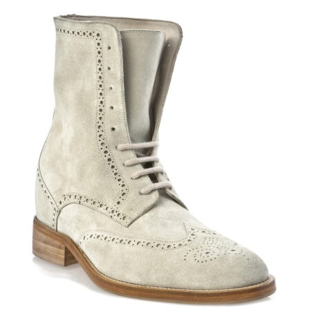 beige brogue suede boots mid-top 1