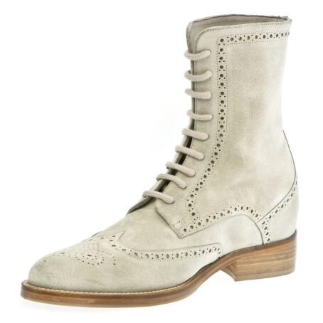 beige brogue suede boots mid-top 4