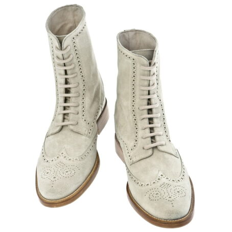 beige brogue suede boots mid-top 2