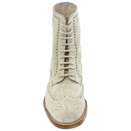 beige brogue suede boots mid-top