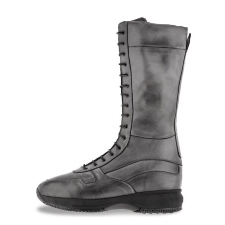 high-top sneakers model boxeur in grey leather 3