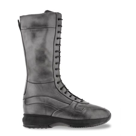 high-top sneakers model boxeur in grey leather 1