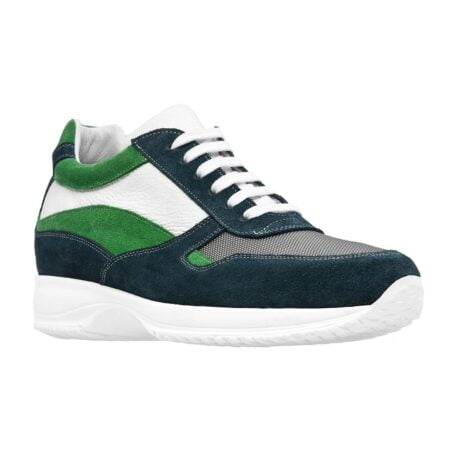 white sneakers with blue and green suede and technical fabric 1