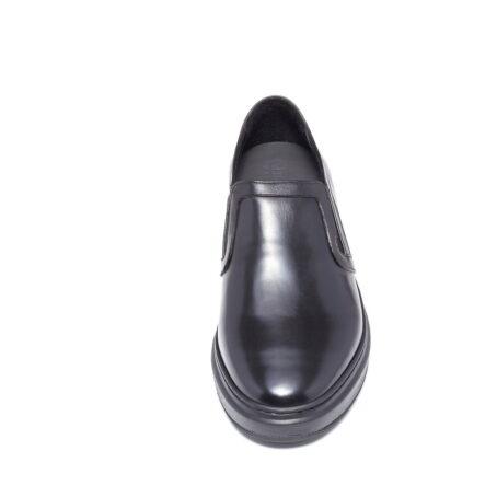 shiny black slip-ons