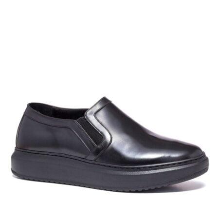 shiny black slip-ons 1