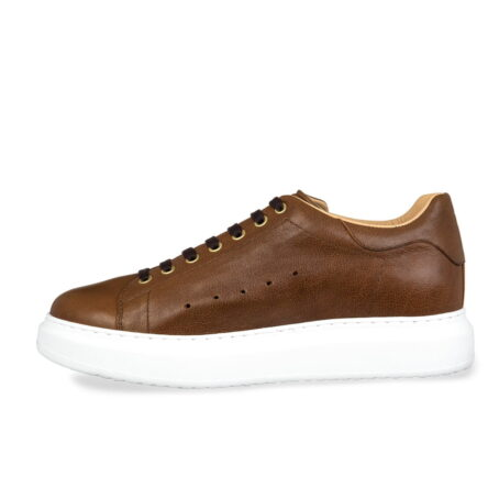 brown leather sneakers with black cotton laces 3