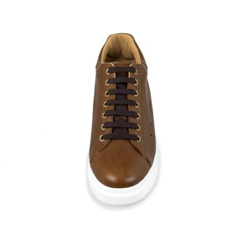 brown leather sneakers with black cotton laces 4