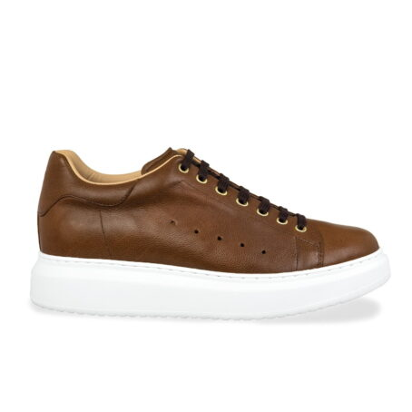 brown leather sneakers with black cotton laces 1
