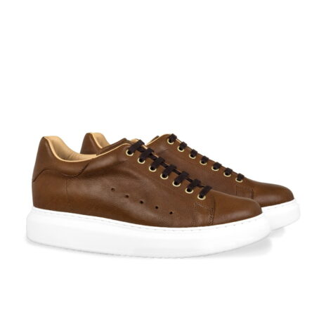 brown leather sneakers with black cotton laces 5