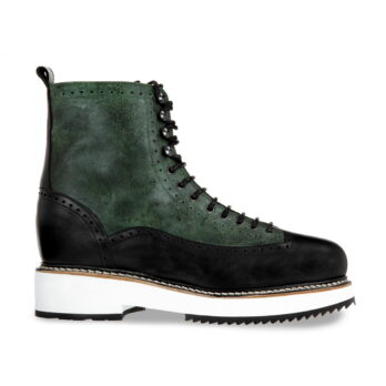 black and green elevator boots with semi brogue decorations