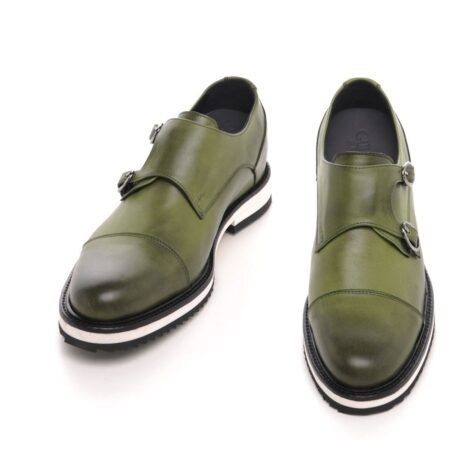 olive green patina effects cap toe balmoral with white outsole 2