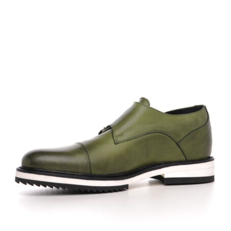 olive green patina effects cap toe balmoral with white outsole 3