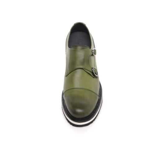 olive green patina effects cap toe balmoral
