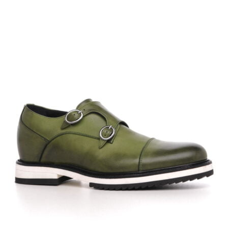 olive green patina effects cap toe balmoral with white outsole 1