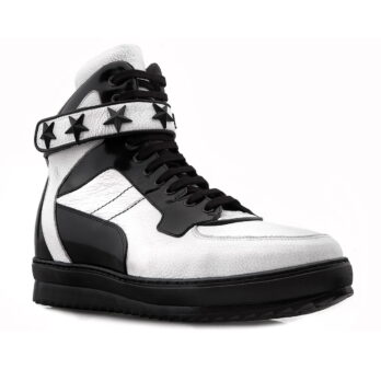 black and white leather senakers with stars on strap 1