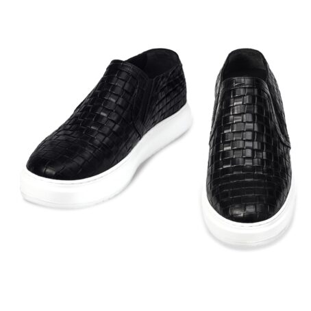 textured black slip-ons with white outsole 2