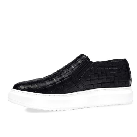 textured black slip-ons with white outsole 3
