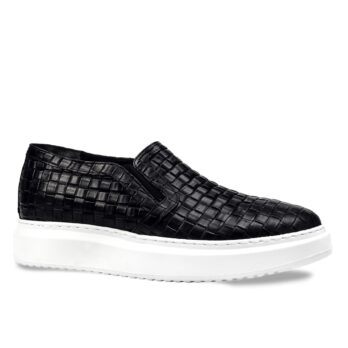 textured black slip-ons with white outsole 1