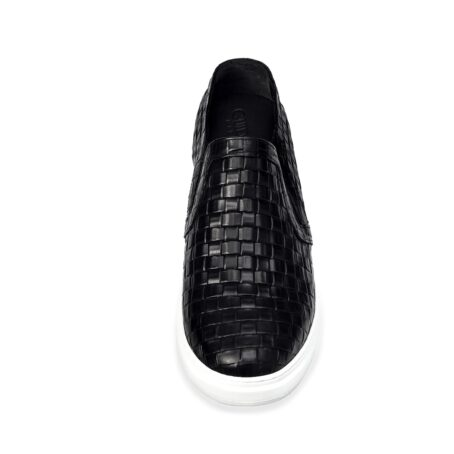textured black slip-ons with white outsole 4