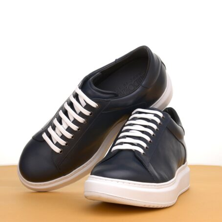 leather sneakers with white cotton laces 6
