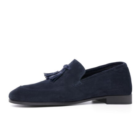 blue suede opera loafers with leather tassels 4