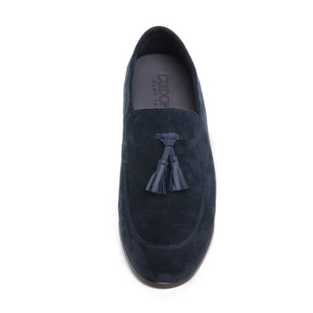 blue suede opera loafers with leather tassels 3