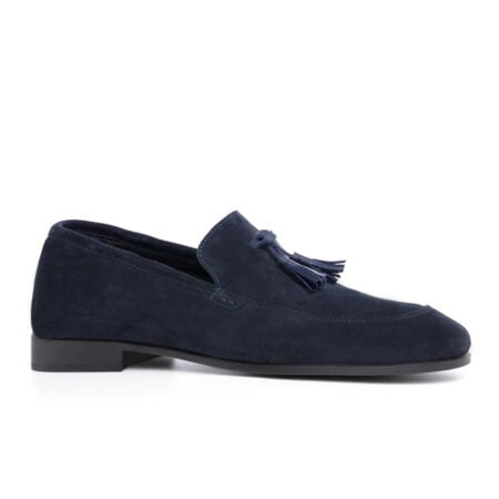 blue suede opera loafers with leather tassels 1