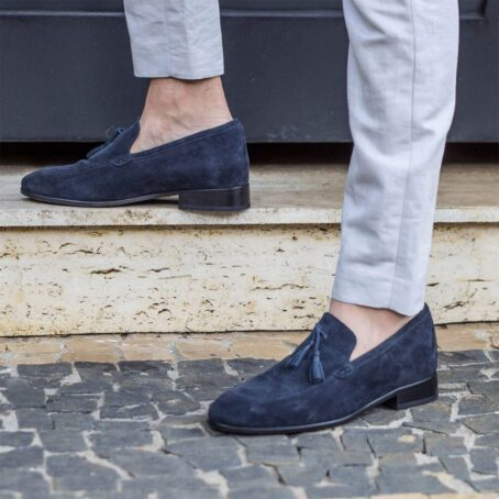 blue suede opera loafers with leather tassels 6