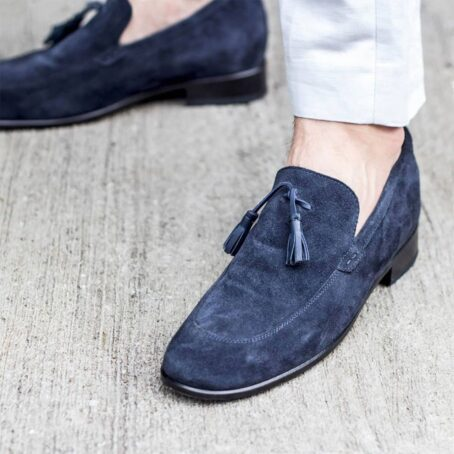 blue suede opera loafers with leather tassels 7