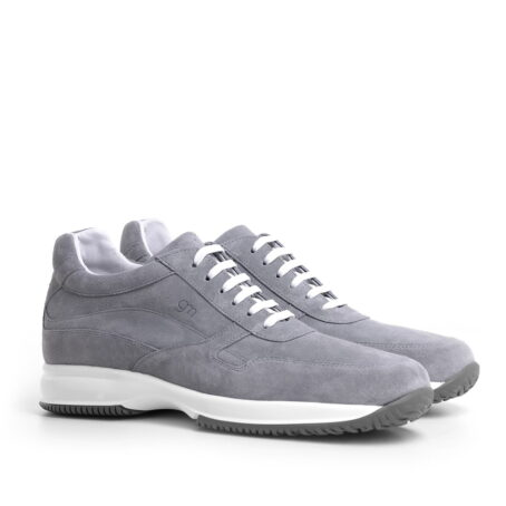 grey leather sneakers with height increase guidomaggi switzerland