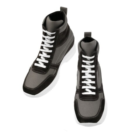 sneakers made in technical fabric and black suede leather 2