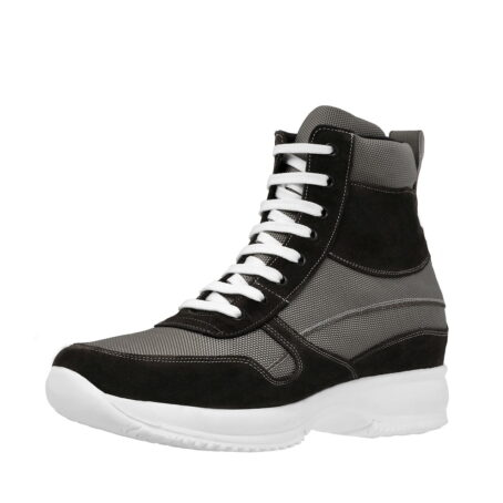 sneakers made in technical fabric and black suede leather 3
