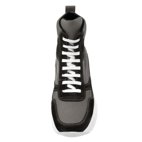 sneakers made in technical fabric and black suede leather 4