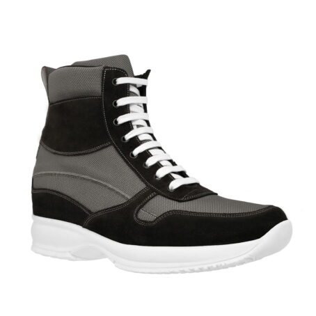 sneakers made in technical fabric and black suede leather 1