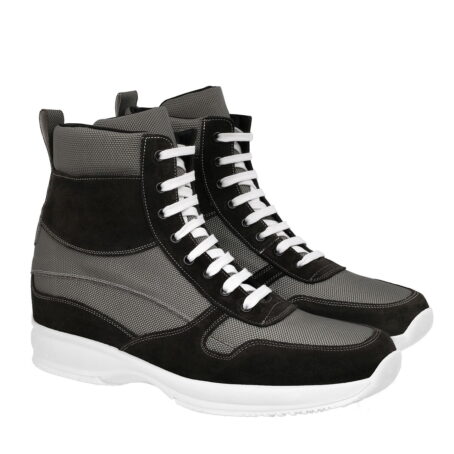 sneakers made in technical fabric and black suede leather 5