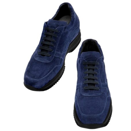 blue navy suede sneakers with black outsole 2