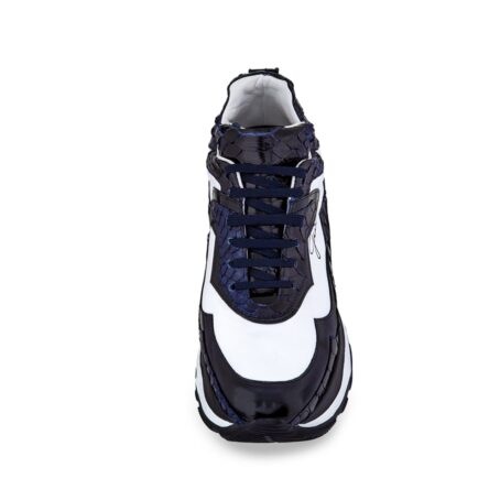 white and blue chunky high-top elevator sneakers made from different precious leathers 4